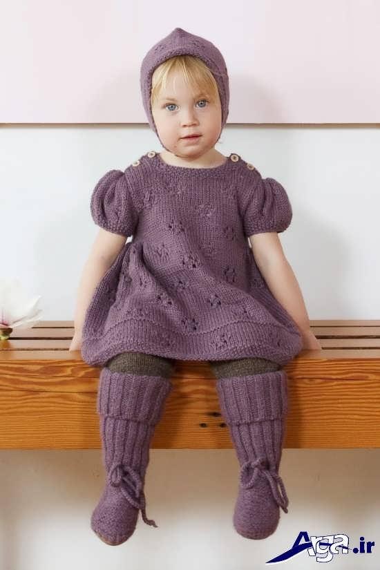 لباس بافتنی زیبای بچگانه دخترانه