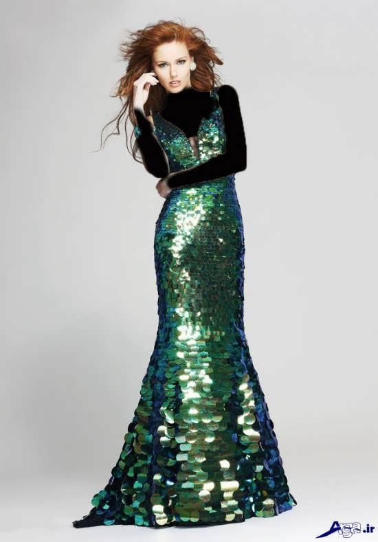 مدل لباس پولکی بلند زنانه