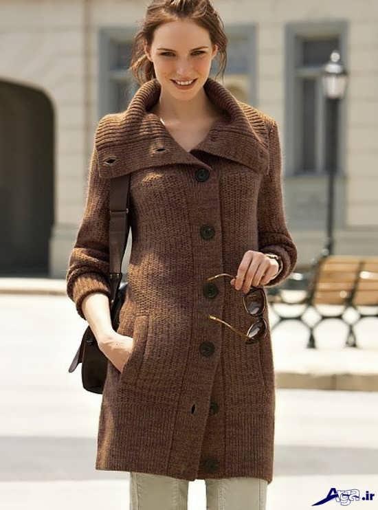 مدل پالتوی بافتنی زیبای دخترانه