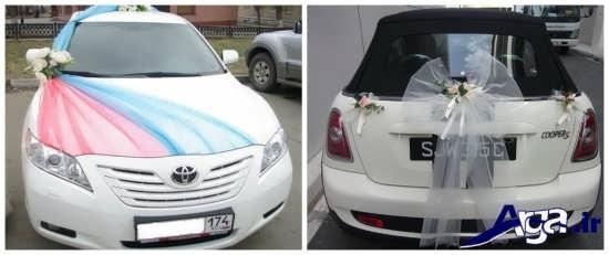 تزیین ماشین عروس با تور و روبان