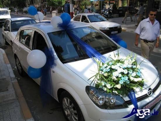 تزیین ماشین عروس با بادکنک و گل