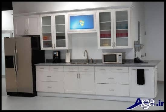 مدل کابینت آشپزخانه با درب شیشه ای