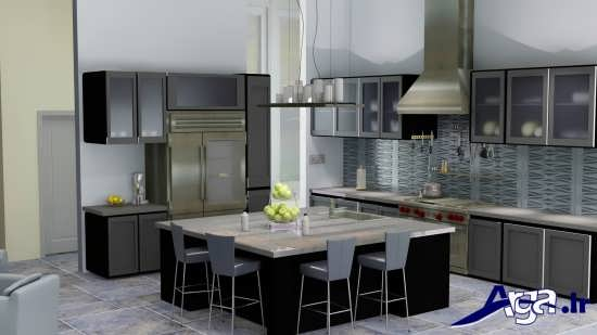 مدل کابینت آشپزخانه با طرح های شیشه ای