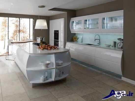 مدل کابینت آشپزخانه با شیشه مات