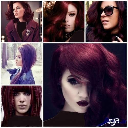 رنگ موهای بنفش و شرابی سال 2017