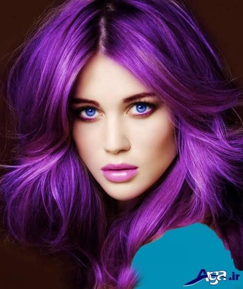 رنگ موی بنفش زیبا