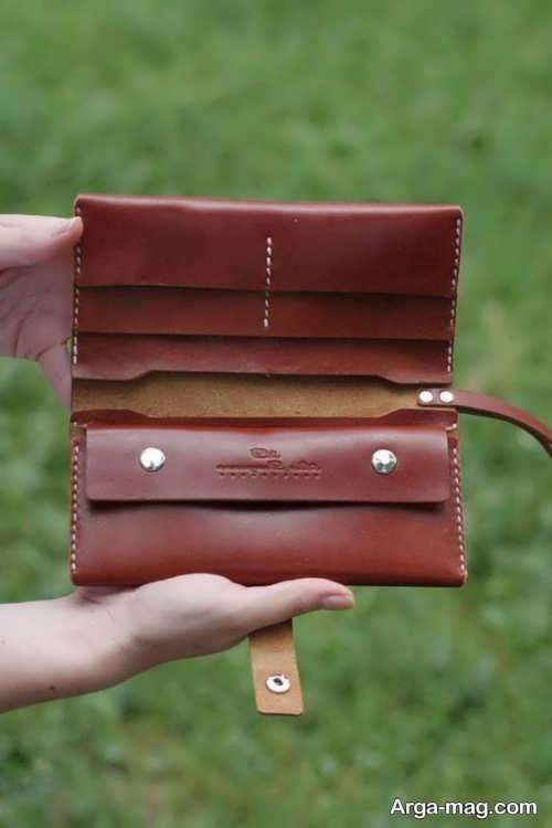 کیف پول چرم دست دوز زیبا