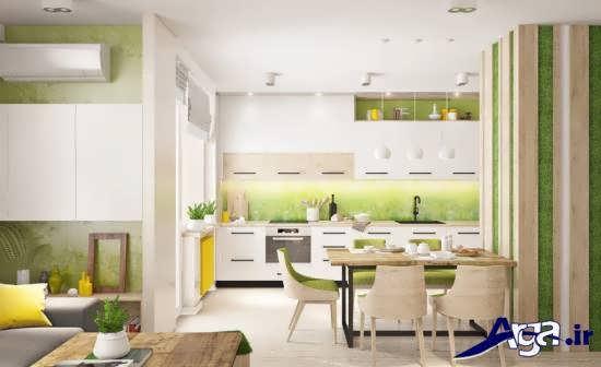 دکوراسیون آشپزخانه کوچک با دیزاین شیک و زیبا
