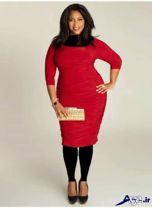 مدل لباس مجلسی با طرح کوتاه برای خانمهای چاق