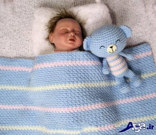 مدل پتو بافتنی نوزاد دخترانه و پسرانه