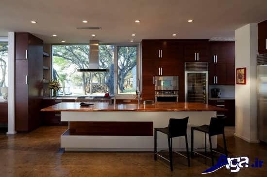 اپن آشپزخانه با طراحی زیبا و لوکس