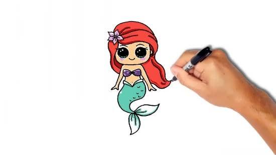 آموزش کشیدن نقاشی پری دریایی به صورت مرحله به مرحله