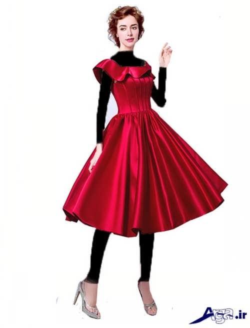 مدل لباس ساتن کوتاه با طرح های مجلسی