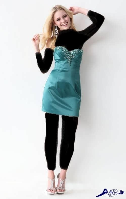 لباس مجلسی ساتن با طرح کوتاه