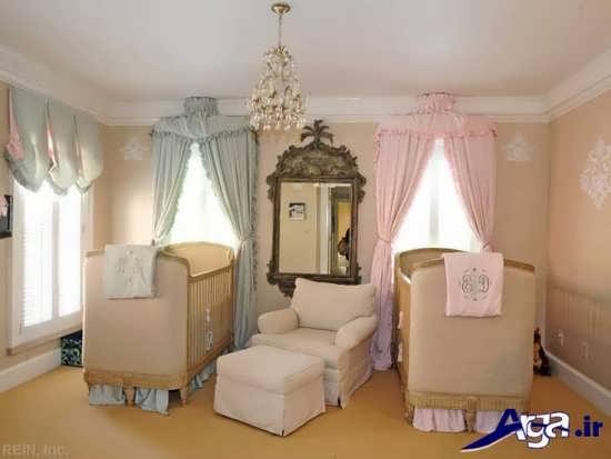 اتاق نوزاد دوقلو با دکوراسیون داخلی شیک و دوست داشتنی