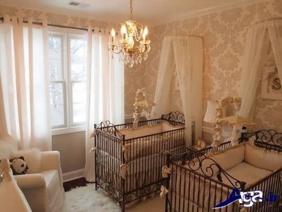 دکوراسیون زیبا و متفاوت اتاق نوزادان دوقلو