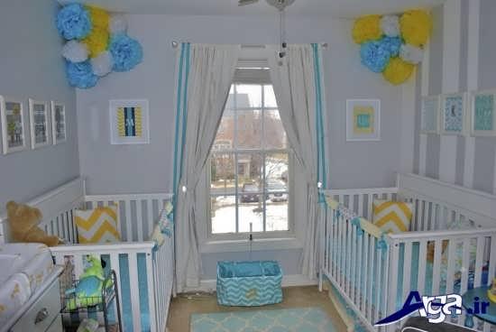 دکوراسیون داخلی زیبا و دوست داشتنی اتاق نوزادان دوقلو
