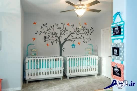 اتاق نوزادان دوقلو با طراحی متفاوت و فانتزی