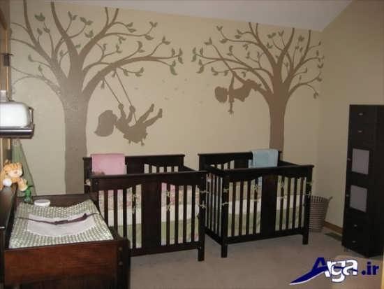 اتاق نوزاد دوقلو با طراحی زیبا