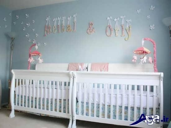 اتاق نوزادان دوقلو با دکوراسیون شیک و متفاوت