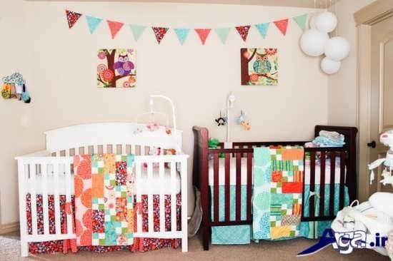 دکوراسیون زیبا و جدید اتاق نوزادان دوقلو