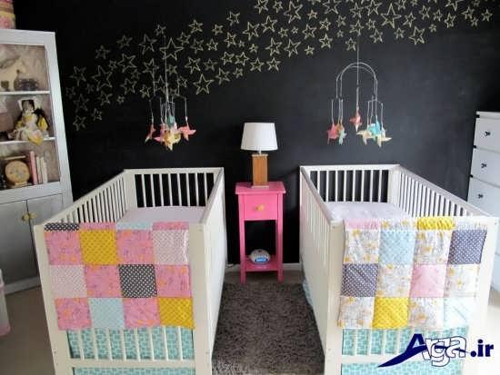 طراحی دکوراسیون داخلی اتاق زیبا برای نوزاد دوقلو