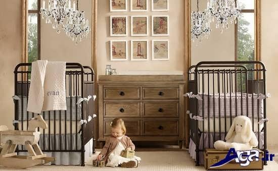 اتاق نوزاد دوقلو با دکوراسیون شیک و متفاوت