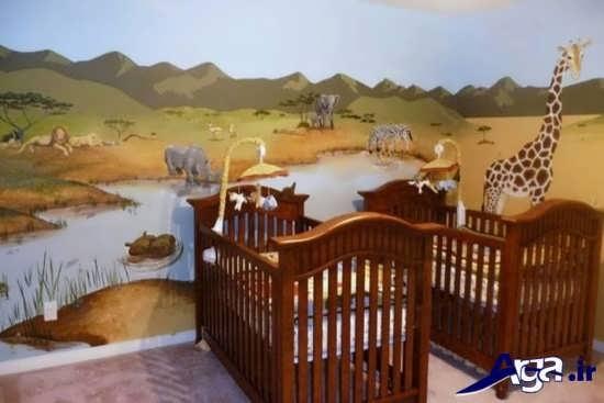 دکوراسیون فانتزی اتاق نوزادان دوقلو