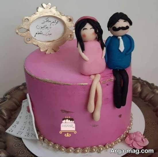 تزیین کیک سالگرد ازدواج رمانتیک