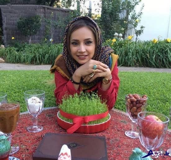 تصاویر شبنم قلی خانی در کنار سفره عید نوروز
