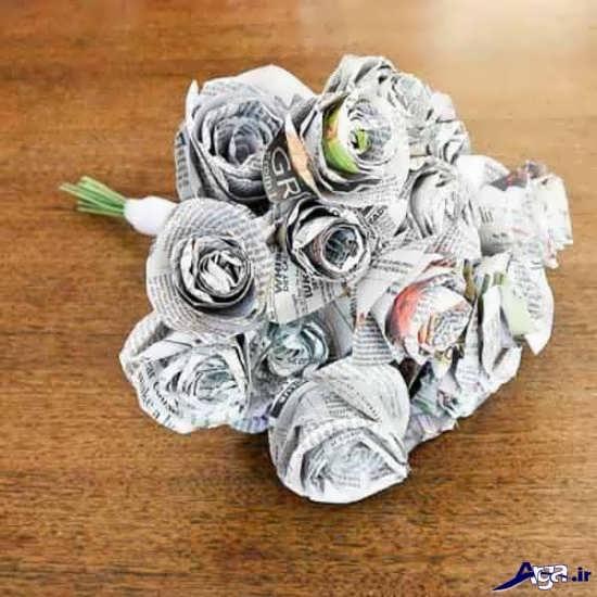 ساخت گل با روزنامه باطله