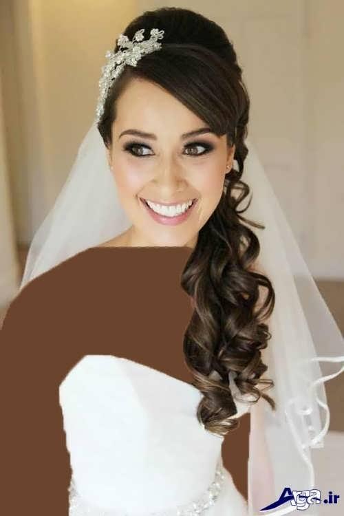 مدل مو فر عروس با شینیون یک طرفه