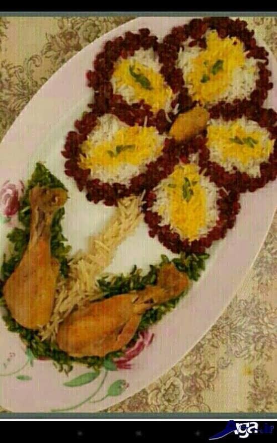 تزیین زرشک پلو به شکل گل