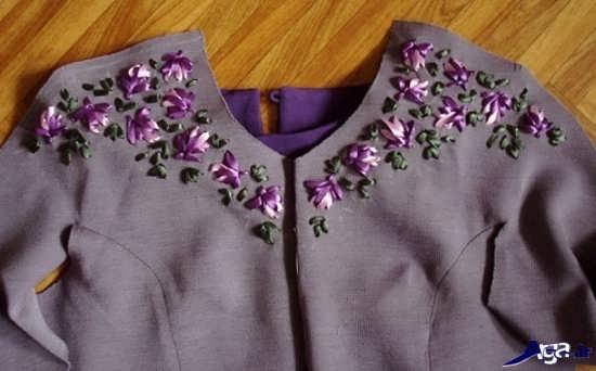 تزیین زیبای یقه لباس مجلسی