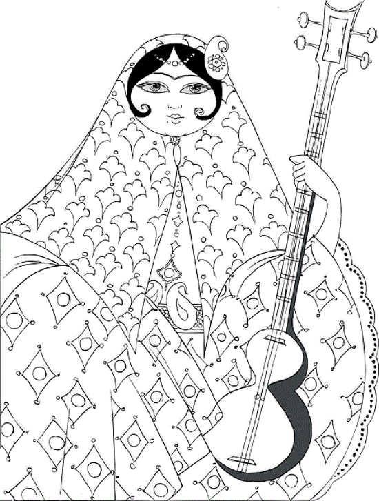 طرح خاتون برای منبت و معرق