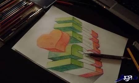 نقاشی سه بعدی زیبا روی کاغذ