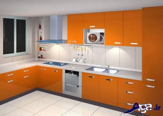 طراحی آشپزخانه کوچک با رنگ های روشن