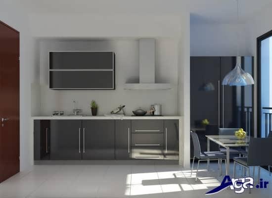 دیزاین داخلی آشپزخانه با رنگ های تیره
