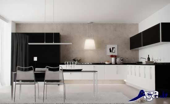 آشپزخانه بزرگ با طراحی زیبا