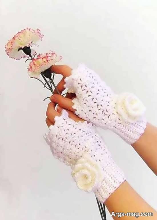مدل دستکش بافت زیبا با قلاب