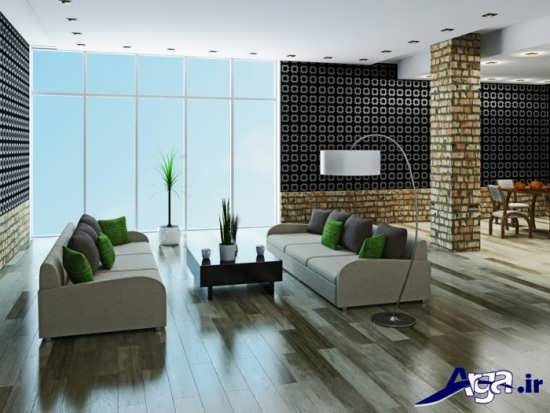 کاغذ دیواری با طرح شیک برای سالن پذیرایی
