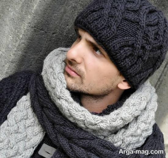 مدلهای متنوع شال و کلاه بافتنی مردانه