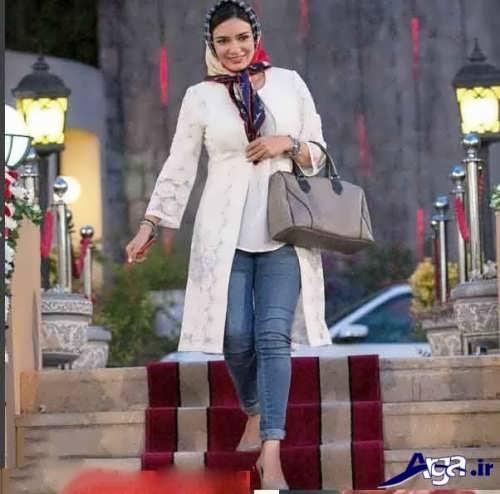 مدل مانتو سفید بازیگران ایرانی