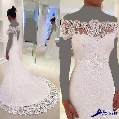 لباس عروس یقه قایقی