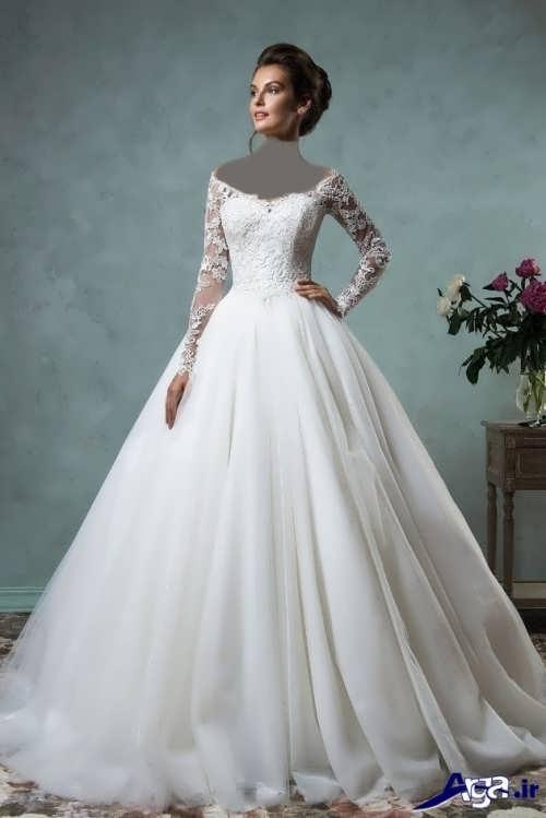 لباس عروس یقه قایقی آستین دار