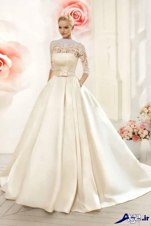 لباس عروس یقه قایقی زیبا و جدید