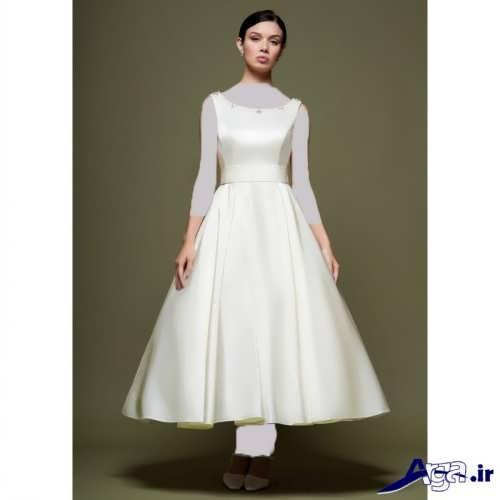 لباس عروس استین سه ربع مدل لباس عروس یقه قایقی شیک با طرح های زیبا و جذاب