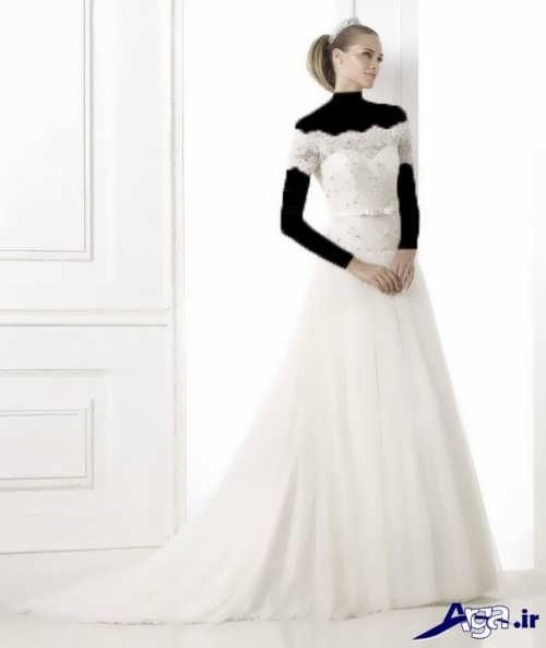 انواع مدل های لباس عروس آستین سه ربع