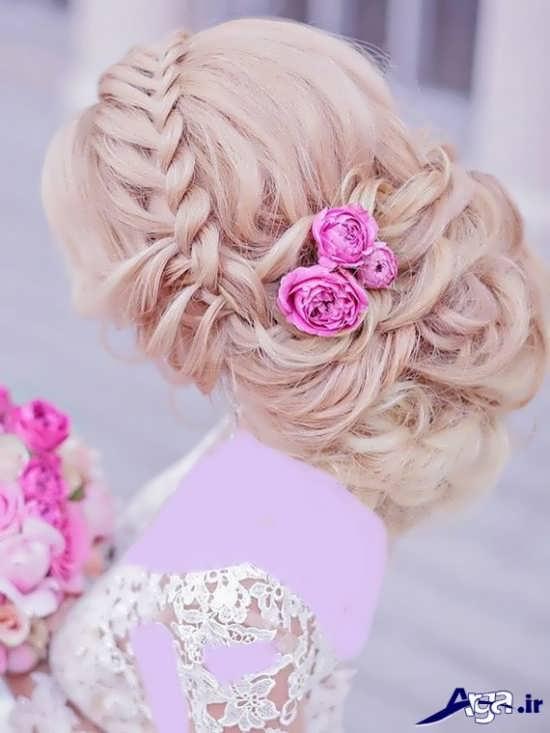 مدل شینیون عروس 2017 با بافت تزیینی