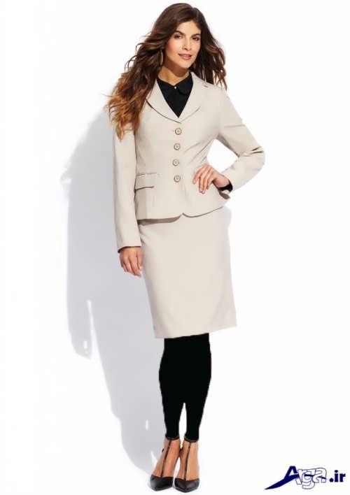 مدل کت و دامن زنانه با رنگ روشن